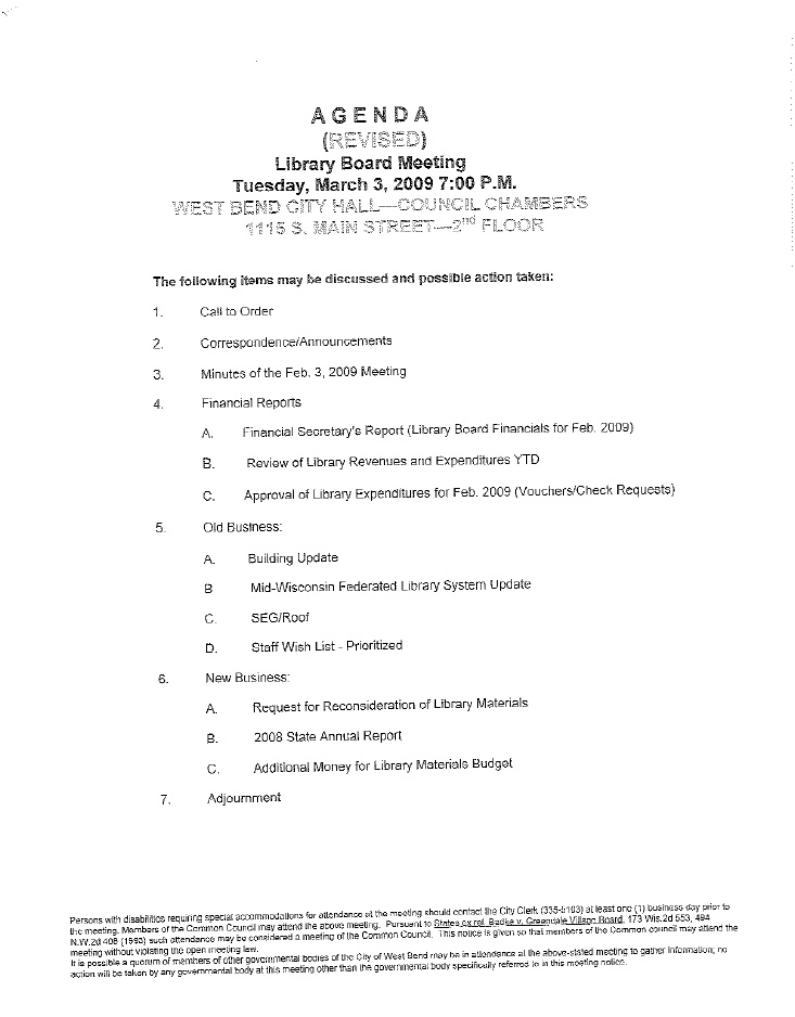Revised Agenda for the West Bend Library Board Meeting by West – Board Meeting Agendas